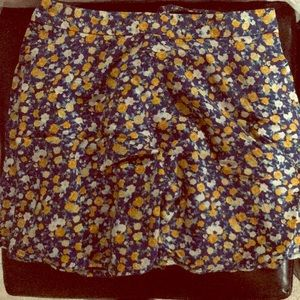 Forever21 blue yellow white flower summer skirt